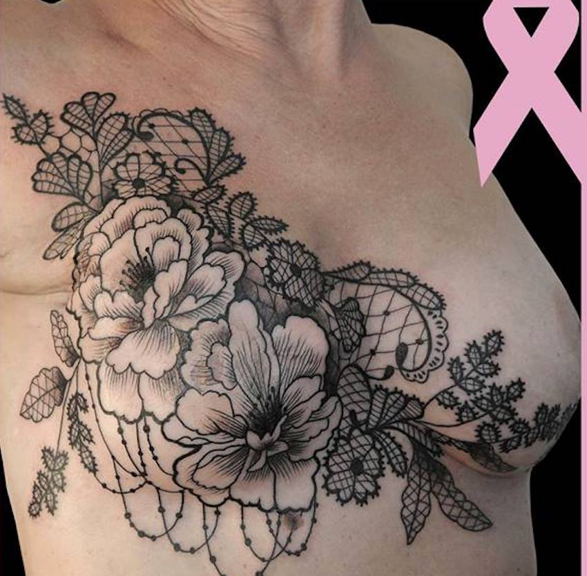 ©tatoueuse : alextatooshop, Rose tatoo, Sœurs d'encre, cancer du sein, octobre rose, DR